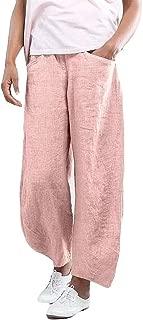 PEIZH Womens Cotton High Waist Pants Fashion Solid Color Trousers Ladies Pants