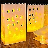 30 pacchi Lanterna di carta luminary, sacchetti di tè luce candela - Carta resistente alla fiamma per la festa di ricevimento di nozze di partito di nozze di barbecue ed evento interno ed esterno