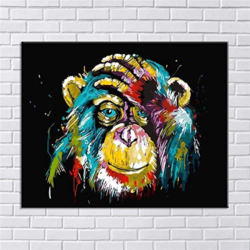 BGFDV Wild Animal Orangutan Head Oil Painting Canvas Poster Prints Living Room Mural Picture