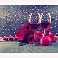 DIY 5dダイヤモンドペインティングキット バラと赤ワイン フルラウンドドリルキット ラインストーン ピクチャーアート クラフト ホームウォールデコ 30x40cm