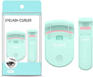 [2 in 1] Portable Plastic Professional Eyelash Curler + Mini Partial Eyelashes Curling with Silicone Pressure Refill Pads,...