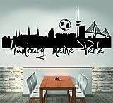 Skyline Hamburg meine Perle (120 cm Breite, schwarz)