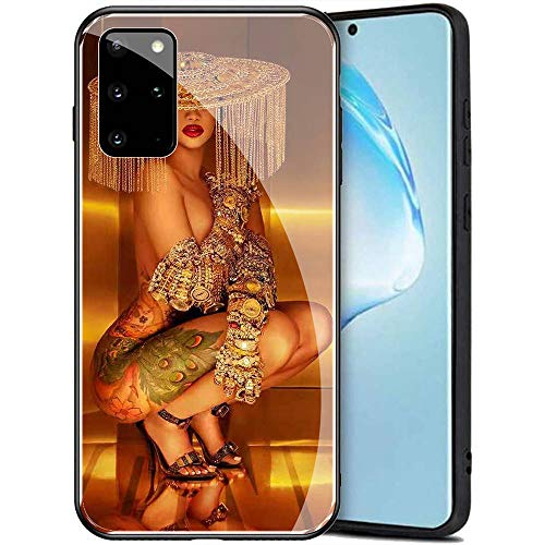 Samsung Galaxy A71 Case, Tempered Glass Back Cover Soft Silicone Bumper Compatible with Samsung Galaxy A71 AMB-5 Cardi B CardiB