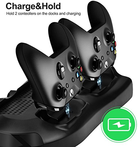 FastSnail Xbox One X Vertical Stand Cooling Fan with Game Discs Storage & Dualshock Charger, Controller Charging Station for Xbox One X