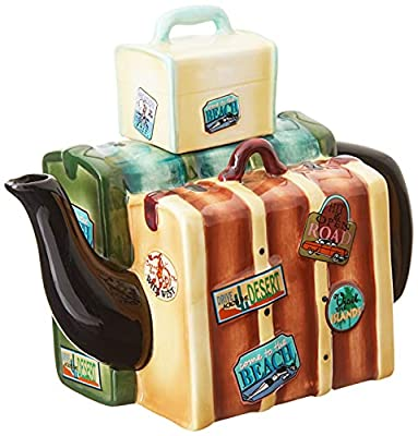 Appletree Design Road Trip Luggage Teapot, 5-1/2-Inch