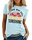 UMIPUBO Bluas de Mujer Camisa Algodón Cuello Redondo Basica Blusa Mujer Elegante Bring On The Sunshine Print Manga Corta Larga Camisa Suelta Mujer Casual Suelto Verano Invierno Primavera T-Shirts Tops