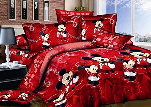 Funda nórdica de Mickey Mouse, ropa de cama infantil diseñada por Mickey y Minnie de dibujos animados rojos, 100% algodón, 1 funda nórdica y 2 fundas de almohada (Single 135x200cm)