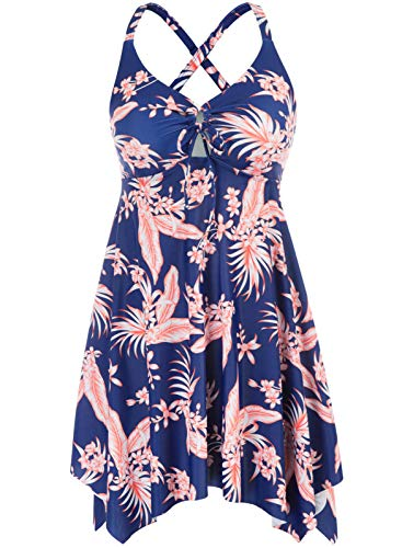 Women's Floral Flowy Swimsuit Crossback Plus Size Tankini Top with Boyshorts 22W Sapphire