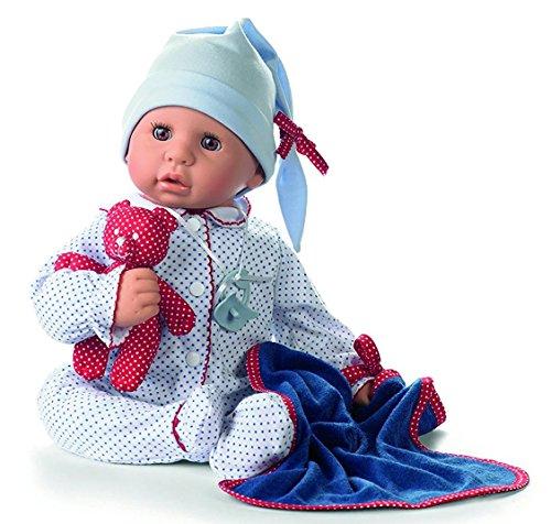 Götz 1161034 Cookie Blue Spots Puppe - 48 cm große Babypuppe mit braunen Schlafaugen, ohne Haare und einem Weichkörper - 6-teiliges Set