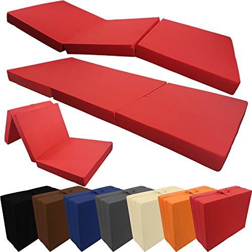 PROHEIM Klappmatratze mit Microfaserbezug viele Größen und Farben wählbar zusammenklappbares Gästebett Faltmatratze faltbares Notbett, Farbe:Rot, Größe:190 x 60 x 7 cm