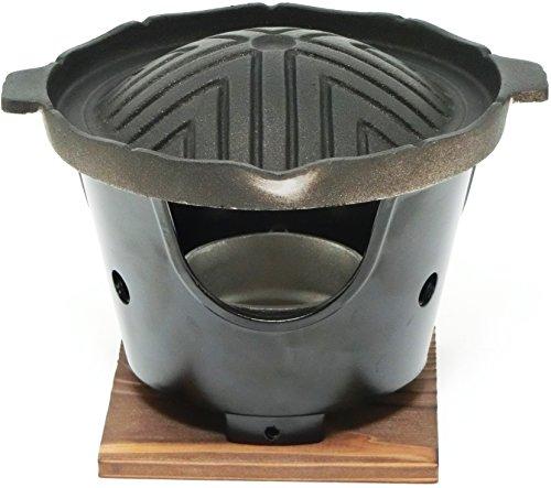 【 国産 】 ご家庭でも楽しめる プロ仕様 懐石 匠の 技 丸型 焼肉 ジンギスカン グリル コンロ 火皿 付 セット ( 固形燃料 使用 タイプ)