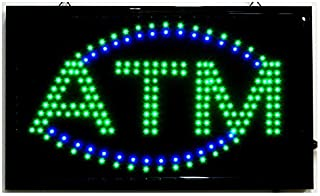"""LARGE Animated LED ATM LED Neon Sign Bright Restaurant Shop Store 21"""" X 13"""" #36G"""