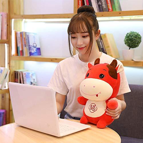 CPFYZH Peluches Rojos de la Mascota del Buey de los 20 / 40Cm, Rojo de la muñeca de la Vaca de Chow, decoración Festiva del búfalo-40Cm