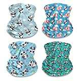 4 Pack Kids Neck Gaiters Cute Panda Printed Face Covering for Children Halloween Face Scarf Headband
