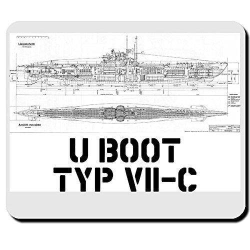 U Boot Typ VII C Marine U-Boot Waffe Bauplan Zeichnung - Mauspad Mousepad Computer Laptop PC #7958