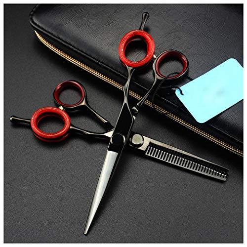 Corte de Pelo Tijeras Set Profesional tijeras de peluquería adelgazamiento debido a sus hojas humanizado Diseño suplemento de goma en los bucles para un uso cómodo,6 INCH