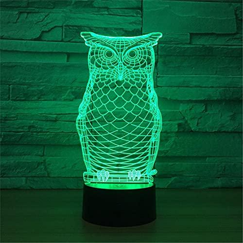 SHUMEISHOUT El Nuevo Noche Light Owl Patrón de Animales 3D Lámpara de Noche Luminosa Multicolor para Decoración de Dormitorio 7 Colores LED Luz de Cama Luz de Coche Control Remoto