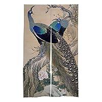 の暖簾戸口カーテン孔雀キッチンビストロパーティションシェーディング家の装飾のための春のドアカーテンタペストリーのFJTP日本