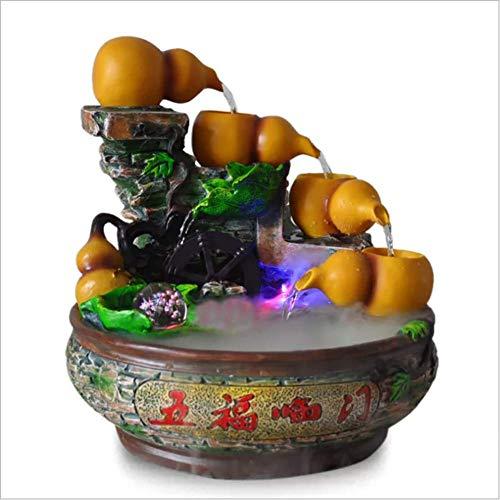 WASDOP Standbeelden Decoratie Ambachten, Desktop Water Ornamenten Gourd Fontein Huishoudelijke Decoraties Luchtbevochtiger, Waterpomp Vernevelaar (38 * 36 * 36Cm)