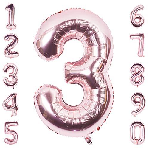CHANGZHONG 40 Zoll Riese Helium Folienballon 0 to 9 Roségold Ballon Geburtstag Hochzeitsfeier Digitale Dekorationen Nummer 3