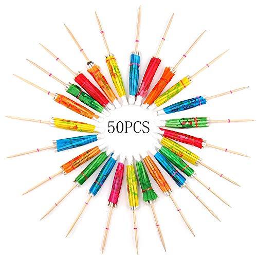 Nobranded 50 Pcs Paraguas de Cóctel, Decoración de Cóctel de Papel, Paraguas de Papel, para Bar Suministros de Decoración de Cócteles Bebidas Frutas Comida Vino Fiesta (6 Colores)