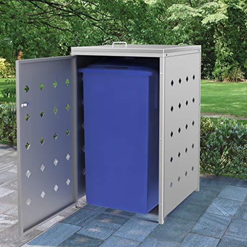 vidaXL Mülltonnenbox für 1 Tonne Mülltonnenverkleidung Müllbox Mülltonne Müllcontainer Gartenbox Gerätebox Mülltonnenschrank 240L Edelstahl