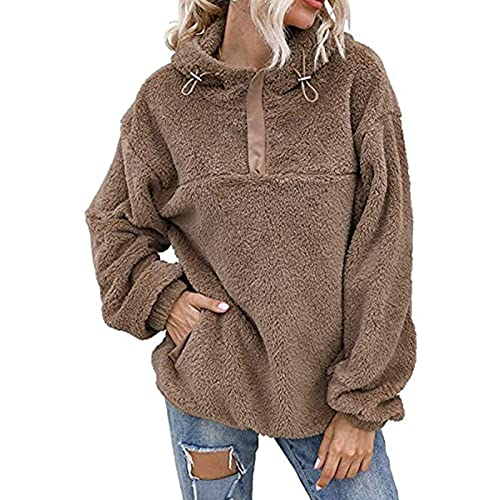 Esque Jersey De Invierno para Mujer, Camiseta Forro Polar Reversible con Capucha Y Manga Larga,Jersey Cremallera,con Polar,Blusa Mujer OtoñO Talla Grande,SuéTer Abrigo Ropa Femenina,Caqui,XL