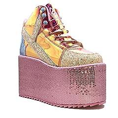 atlantis hologram upper Pink sequin wrapped platform light weight eva bottom 4-inch heel, 3-inches in front Shell applique on heel
