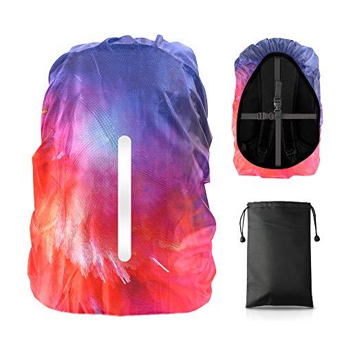 LAMA Rucksack Regenschutz wasserdichte 1 Stück Schulranzen Regenhülle mit Reflexstreifen 2 Verstellschnalle für Wandern Klettern Camping Radfahren Reisen Outdoor Aktivitäten M 26L-40L