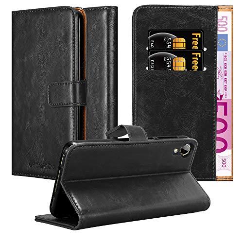 Cadorabo Hülle für HTC Desire 10 Lifestyle/Desire 825 - Hülle in Graphit SCHWARZ – Handyhülle im Luxury Design mit Kartenfach & Standfunktion - Hülle Cover Schutzhülle Etui Tasche Book
