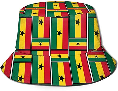 SDFRG Bucket Hat Ghana Flag Puzzle Sun Fisherman Cap Sombrero para Exteriores UV Protección Solar Sombrero Plegable Ligero Transpirable Gorro de Viaje Negro