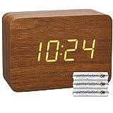 TFA Dostmann 60.2549 - Sveglia radiocomandata in effetto legno CLOCCO (marrone con batterie)