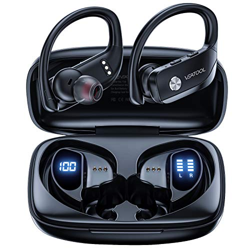 with 36Hrs Hours Playtime 3D Stereo Sound IPX7 Bluetooth Earbuds Bluetooth Earphones Wireless Headphones for iPhone Mpow T5 Truly Wireless Earbuds Cell Phone CVC 8.0 Noise Canceling Microphone