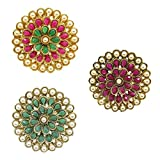 A.R. FASHION Rani Green and Multi Alloy Gold Plated Finger Rings for Women