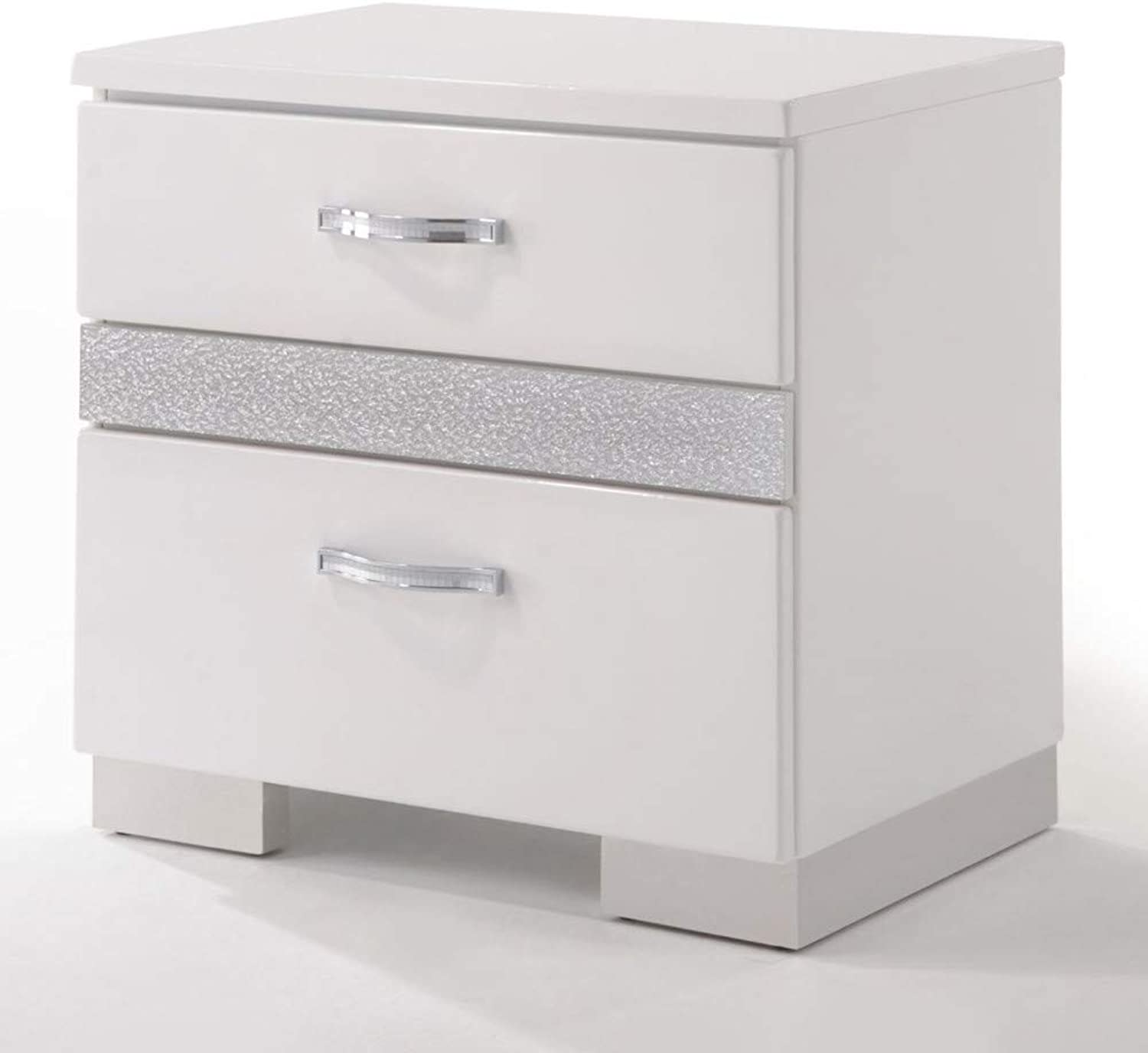 Benzara Nightstand with Three Center Metal Glide Drawers in White Gloss