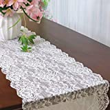 Vintage-Lace-Table-Runner 12x120-Inch 10 Pack Wedding Bridal Lace Table Runners Flower Table Runner Tea Party Table Runner White Lace Runner