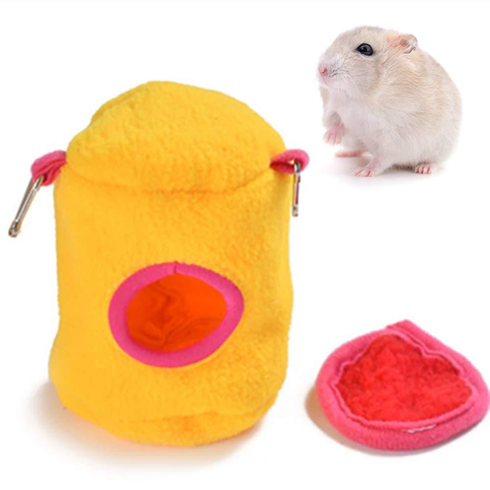 Ouken Felpa de algodón Hamster Nido Cama Colgante Casa Caliente del Invierno de la Ardilla de Erizo Casa (Amarillo, S) 1PC: Amazon.es: Hogar
