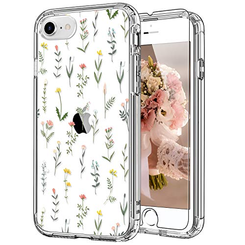 ICEDIO iPhone SE Case 2020,iPhone 8 Case,iPhone 7 Case with Screen Protector,Clear with Flower Garden Patterns for Girls Women,Shockproof Protective Phone Case for Apple iPhone 7/8/SE2