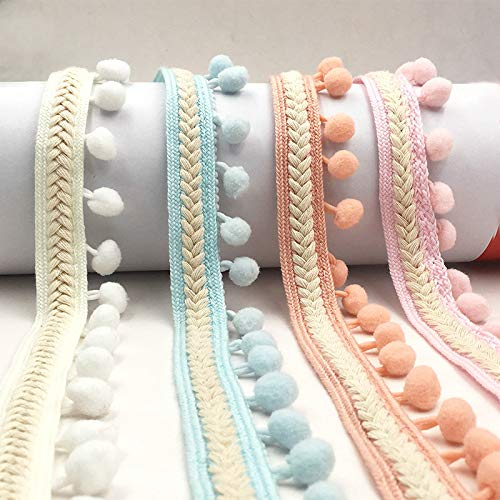 Yalulu 5 Yards Embroidered Trim Ribbon Pompom Trim Fringe Ribbon Pom Pom Crafts Lace DIY Sewing Accessories Decoration Supplies (Navy Blue)