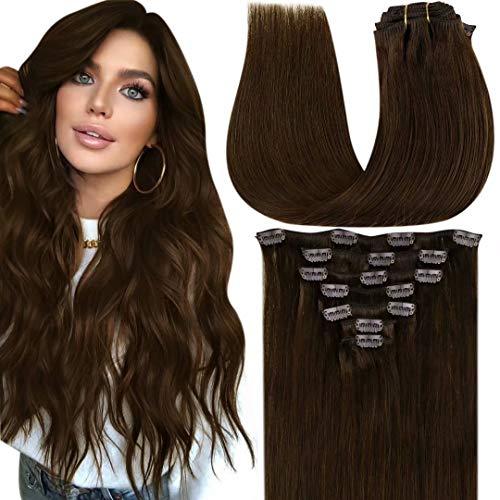 LaaVoo Dark Brown Clip in Hair Extensions Human Hair 20 Inch Clip Hair Extensions #4 Dark Brown 120g/7pcs Real Hair Clip in Extensions Brown Human Hair Double Weft