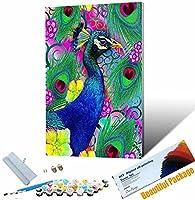 数字キットでペイント 動物の美しい孔雀 大人用初心者用のキャンバスに番号 家の壁の装飾アートの印刷済みの絵画アート品質のキャンバス 3つのブラシ アクリル絵の具を設定します 40x50cm フレームレス