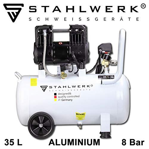 STAHLWERK Kompressor Druckluft Flüsterkompressor ST 358 pro - 35 L Aluminiumkessel, 8 Bar, ölfrei, 120 L/Min, sehr leise, sehr kompakt, 7 Jahre Garantie