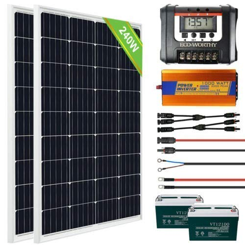 ECO-WORTHY 12V 240W Solarpanel Komplettes Master Pro Kit für Wohnmobil-Anhängerladegeräte