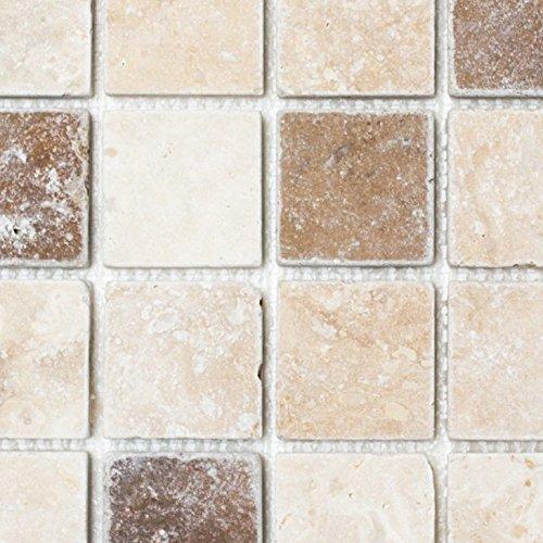 Mosaik Fliese Travertin Naturstein beige braun Chiaro + Noche Travertin für BODEN WAND BAD WC DUSCHE KÜCHE FLIESENSPIEGEL THEKENVERKLEIDUNG BADEWANNENVERKLEIDUNG Mosaikmatte Mosaikplatte