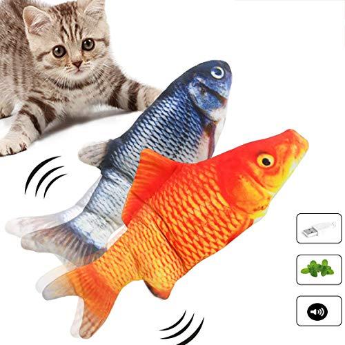 CAMTOA 2 giocattoli elettrici per gatti a forma di pesce, giocattolo interattivo, ricaricabile USB, giocattolo di peluche con erba gatta, adatto per giocare, mordere, masticare