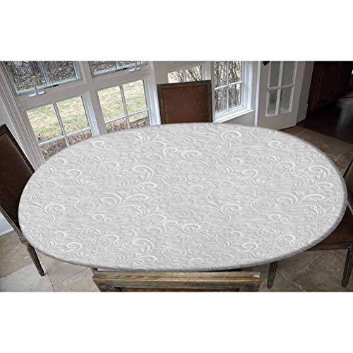 Elastic Polyester Fitted Table Cover,Classic Floral Swirling and Curving Victorian Pattern Embossing Effect Branches Art Graphic Oblong/Oval Elastic Fitted Tablecloth,Fits Tables up to 48' W x 68' L