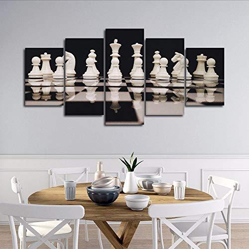 Wuwenw Modulare Drucke Poster Leinwand Malerei Kunstwerk 5 Stück Schwarzweiß Schachbilder Wandkunst Moderne Wohnzimmer Hd Rahmen Dekor, 16 X 24/32/40 Zoll, Ohne Rahmen