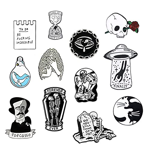 7 Packs Cute Enamel Pins Brooch for Collor Handbag Cap Knapsack Jeans Accessories Collection (12 Packs Collection)