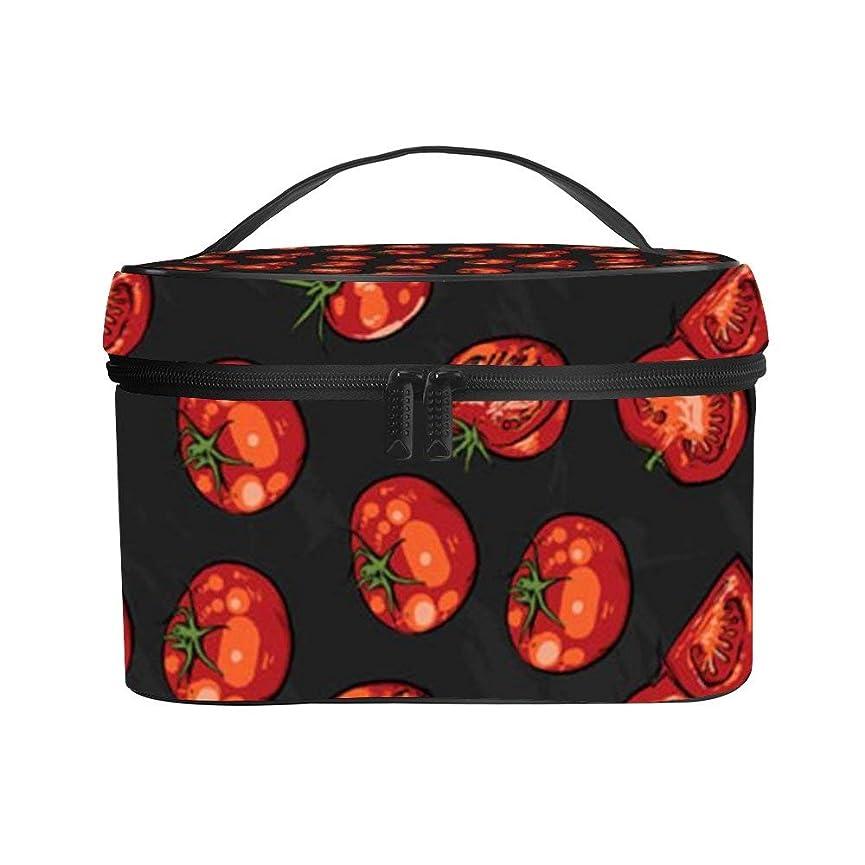 庭園感動するファンシーメイクぼっくす PUレザー コスメボックス バニティポーチ トマト柄 化粧ボックス メイクブラシバッグ トラベルバッグ 人気 かわいい 大容量 機能的