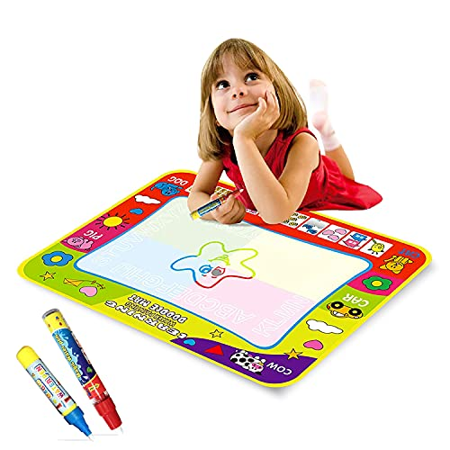 Polyester mat Multicolored Aqua Magic Water Drawing Mat Toy-Best Educational Toy & Xmas Birthday Gifts for Children Age 2 Years and Above 1xDrawing Mat, 2xMagic Pens (Multi-color1)